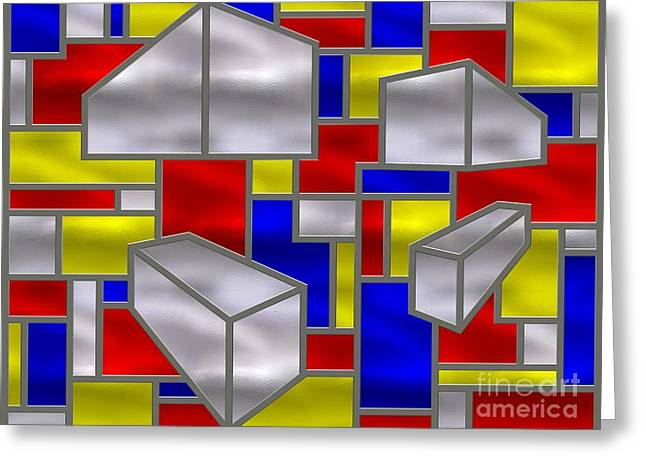 Stainless Steel Greeting Cards - Mondrian Influenced Stained Glass Panel No2 Greeting Card by Michael C Geraghty