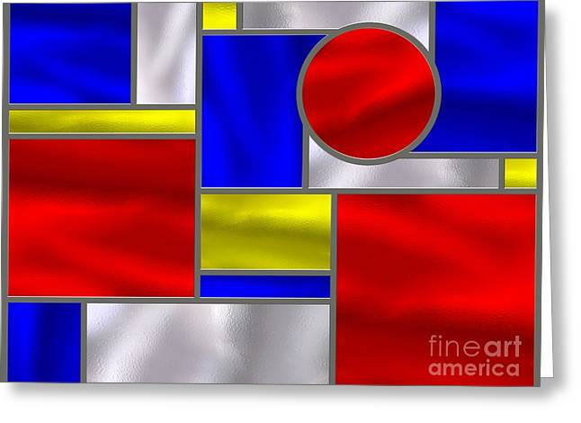 Stainless Steel Digital Art Greeting Cards - Mondrian Influenced Stained Glass Panel No3 Greeting Card by Michael C Geraghty