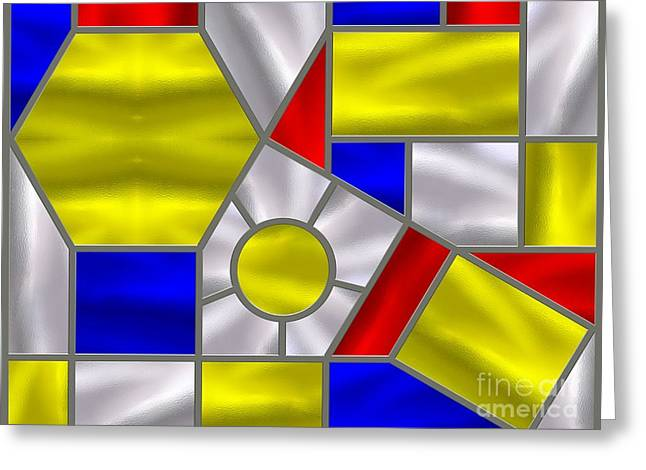 Stainless Steel Digital Art Greeting Cards - Mondrian Influenced Stained Glass panel No4 Greeting Card by Michael C Geraghty