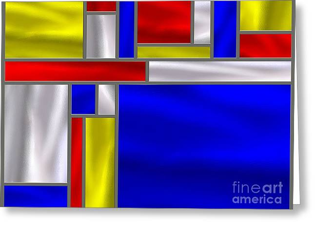 Stainless Steel Digital Art Greeting Cards - Mondrian Influenced Stained Glass panel No5 Greeting Card by Michael C Geraghty