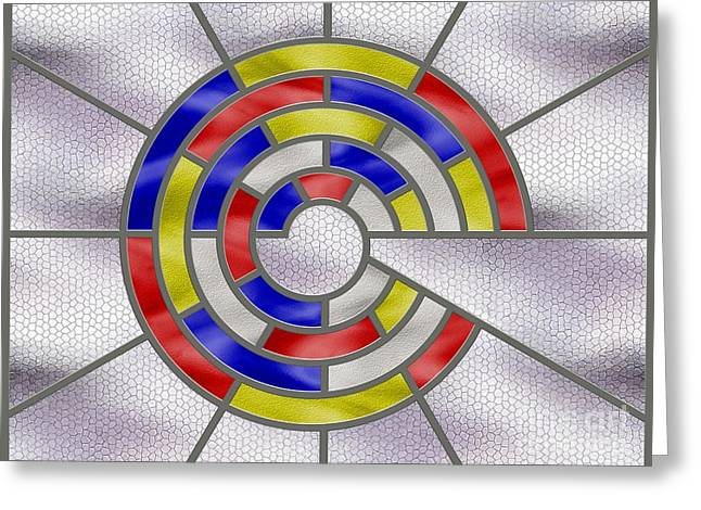 Stainless Steel Digital Art Greeting Cards - Mondrian Influenced Stained Glass panel No6 Greeting Card by Michael C Geraghty