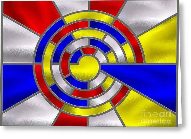 Stainless Steel Digital Art Greeting Cards - Mondrian Influenced Stained Glass panel No6a Greeting Card by Michael C Geraghty