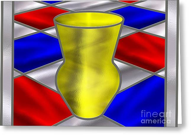 Stainless Steel Digital Art Greeting Cards - Mondrian Influenced Stained Glass panel No7 Greeting Card by Michael C Geraghty