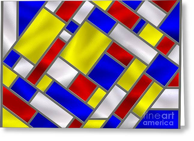 Stainless Steel Digital Art Greeting Cards - Mondrian Influenced Stained Glass panel No8 Greeting Card by Michael C Geraghty