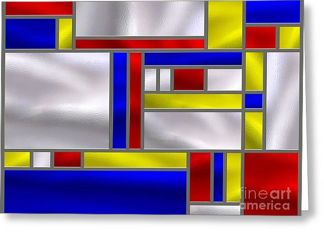 Stainless Steel Digital Art Greeting Cards - Mondrian Influenced Stained Glass panel No9 Greeting Card by Michael C Geraghty