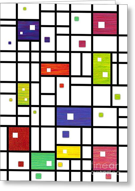 Colored Pencil Abstract Greeting Cards - Mondrian-Like Greeting Card by David K Small