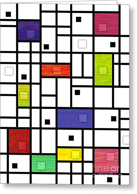 Colored Pencil Abstract Greeting Cards - Mondrian-Like Variation Greeting Card by David K Small