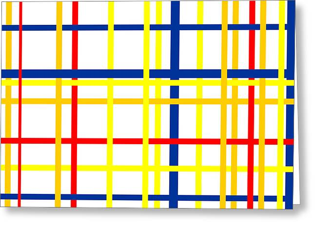 Circles Squares Triangle Textured Greeting Cards - Mondrian Lines Greeting Card by Adam Asar