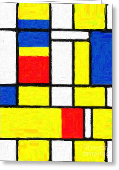 Web Gallery Greeting Cards - Mondrian Rectangles  Greeting Card by Adam Asar