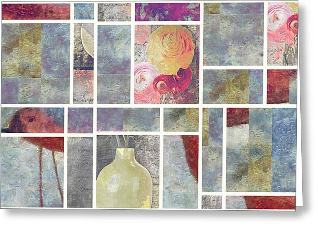 Floral Still Life Mixed Media Greeting Cards - Mondrianity - 08a Greeting Card by Variance Collections