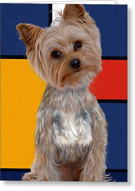 Toy Breeds Greeting Cards - Mondrians Yorkie Greeting Card by Enzie Shahmiri
