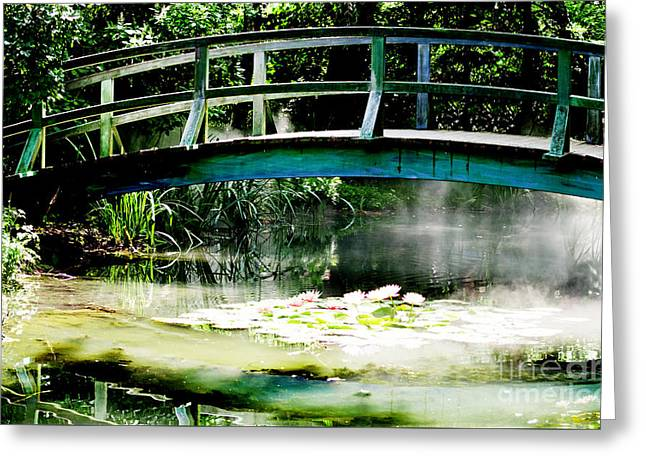 Waterscape Mixed Media Greeting Cards - Monet Bridge and Water Lilly Pond Greeting Card by ArtyZen Home