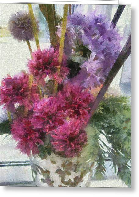 Vase Of Flowers Mixed Media Greeting Cards - Monet Flowers Greeting Card by Kelly Schutz