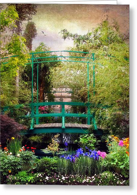 Colorful Trees Digital Greeting Cards - Monet Footbridge Greeting Card by Jessica Jenney