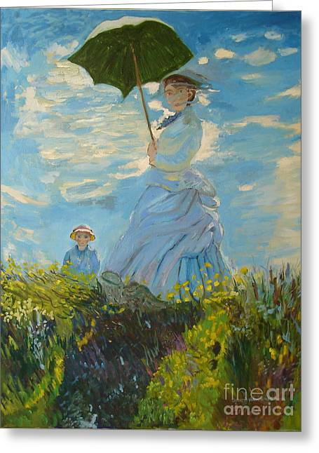 Monet Lady Greeting Cards - Monet-Lady with a parasol-joseph hawkins Greeting Card by Joseph Hawkins