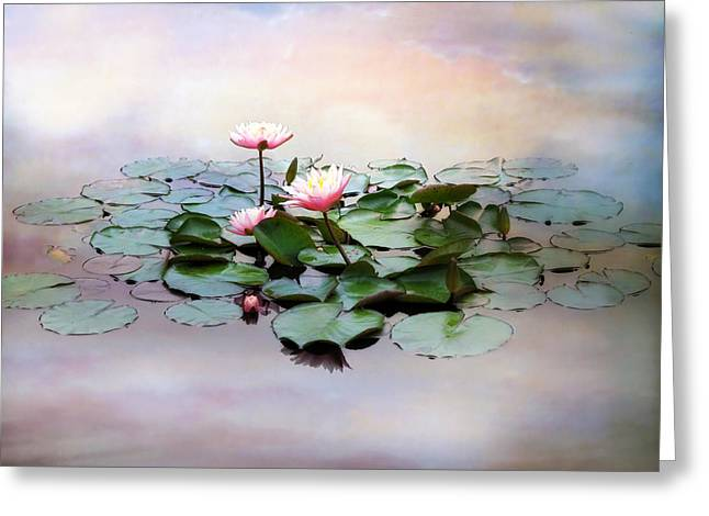 Floating Flowers Greeting Cards - Monet Lilies  Greeting Card by Jessica Jenney