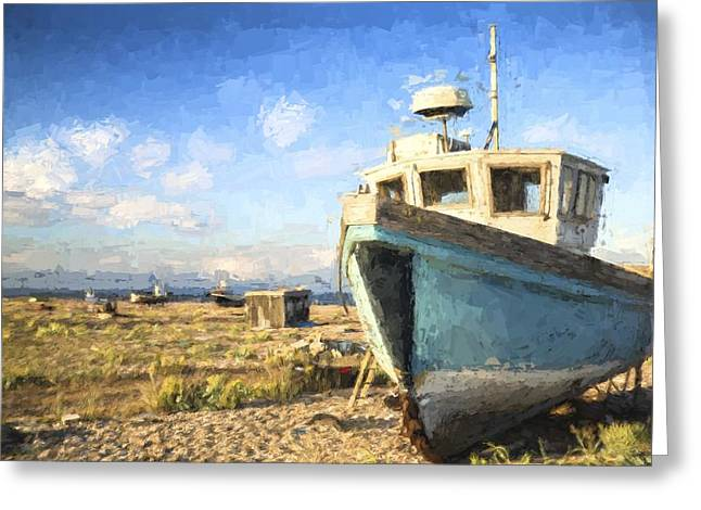 Wooden Building Greeting Cards - Monet style digital painting Abandoned fishing boat on beach landscape at sunset Greeting Card by Matthew Gibson