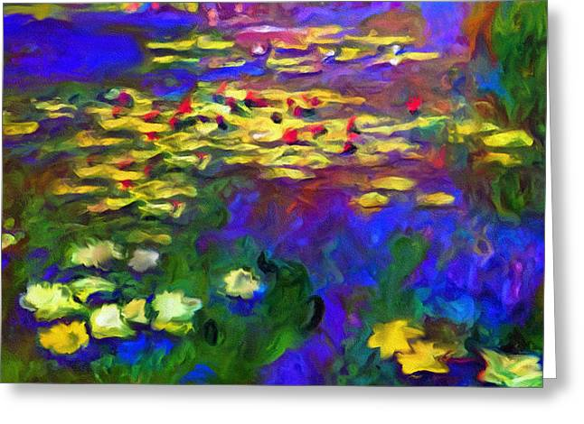 Water Lilly Mixed Media Greeting Cards - Monet Would Be Horrified Greeting Card by Georgiana Romanovna