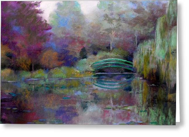 Evening Lights Pastels Greeting Cards - Monets bridge Greeting Card by Heather Harman