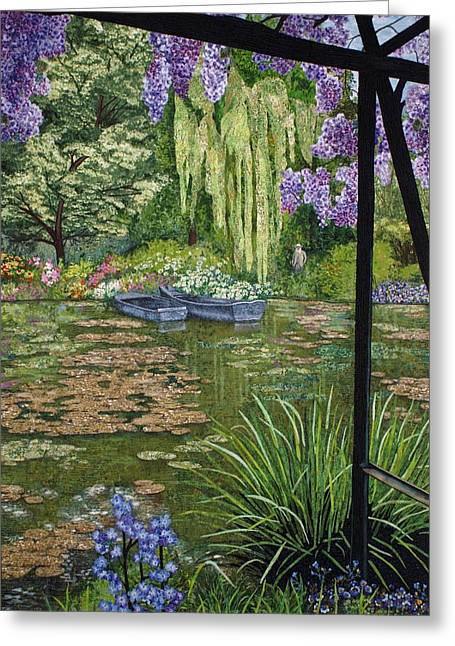 Pond Tapestries - Textiles Greeting Cards - Monets Lily Pond Greeting Card by Lenore Crawford