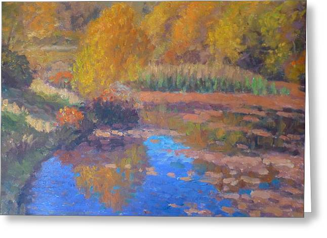 Terry Perham Greeting Cards - Monets Pond. Whitechapple Greeting Card by Terry Perham