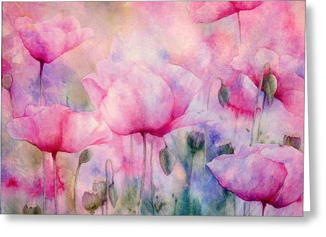 Natural Beauty Mixed Media Greeting Cards - Monets Poppies Vintage Cool Greeting Card by Georgiana Romanovna