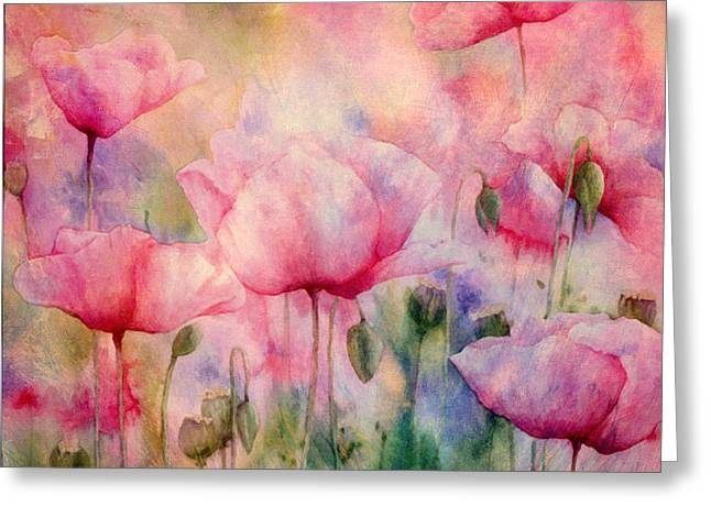Romanovna Greeting Cards - Monets Poppies Vintage Warmth Greeting Card by Georgiana Romanovna