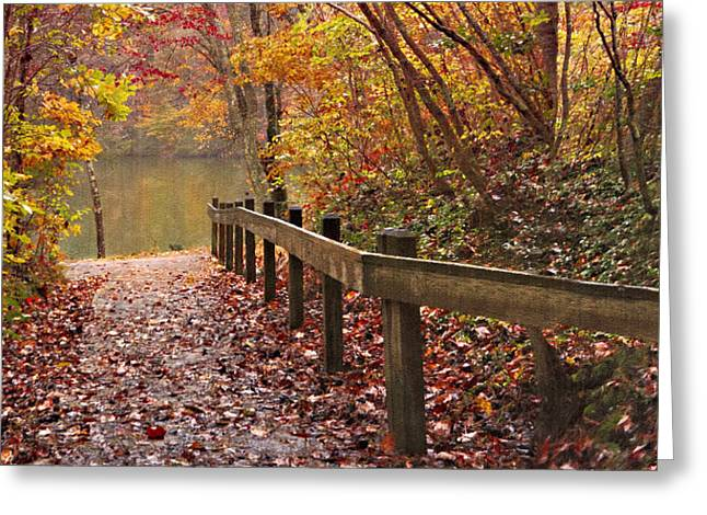 Fall River Scenes Photographs Greeting Cards - Monets Trail Greeting Card by Debra and Dave Vanderlaan