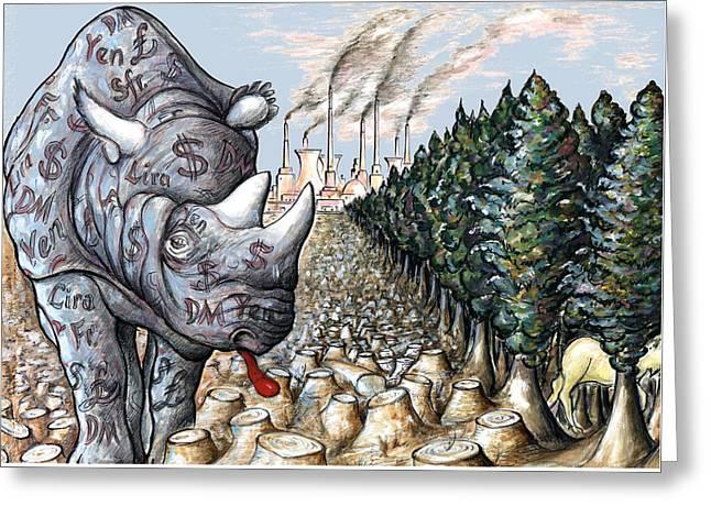 Money Against Nature - Cartoon Art Greeting Card by Art America Online Gallery