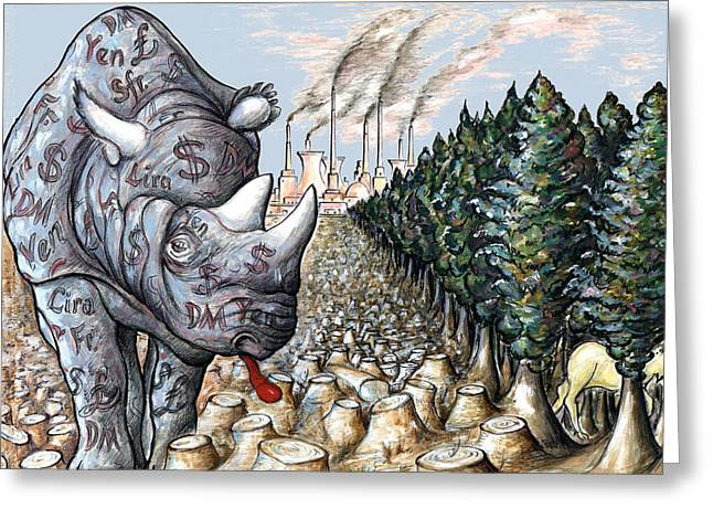 Critical Illustration Greeting Cards - Money against Nature - Cartoon Drawing Greeting Card by Peter Fine Art Gallery  - Paintings Photos Digital Art