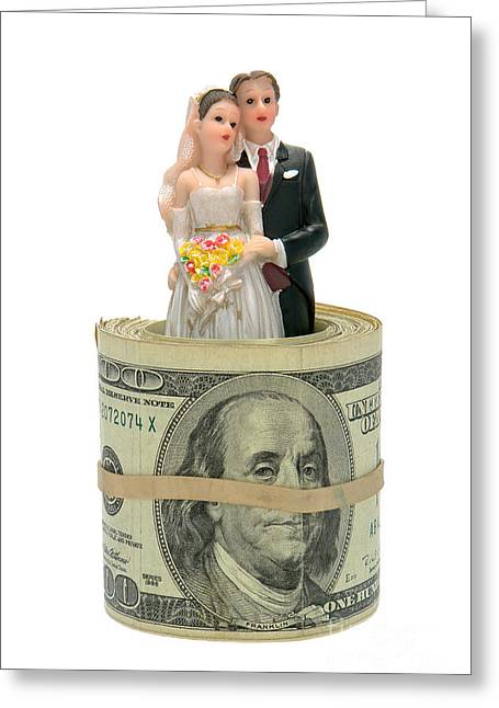 Marriage Greeting Cards - Money and Happiness Greeting Card by Olivier Le Queinec