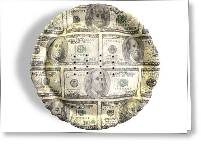 Pie Greeting Cards - Money Dollar Pie Greeting Card by Allan Swart