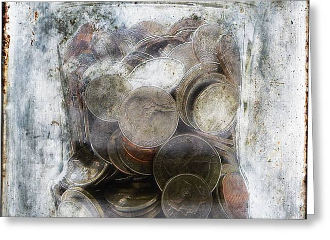 Money Frozen In A Jar Greeting Card by Skip Nall
