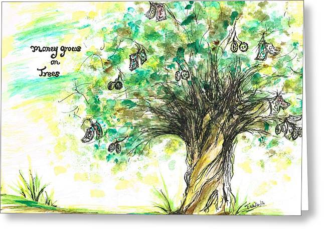 Money Grows On Trees Greeting Card by Teresa White