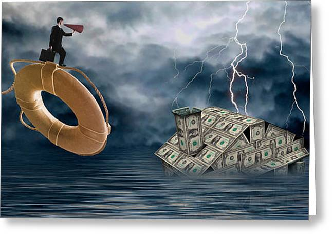 Thunderstorm Greeting Cards - Money House Under Water Greeting Card by Panoramic Images