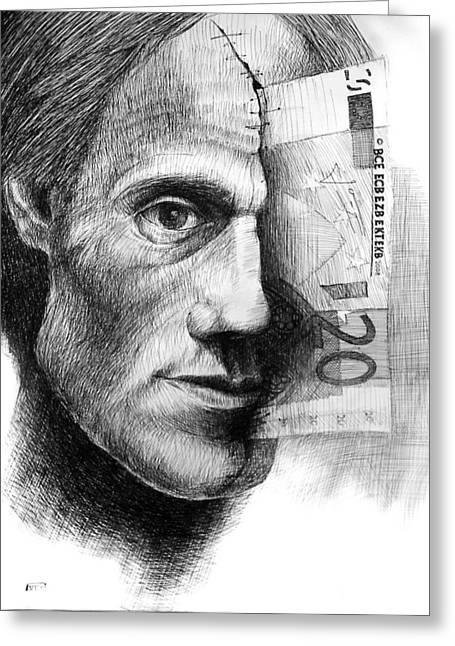 Emart Gallery Greeting Cards - Money in my head Greeting Card by Piotr Betlej