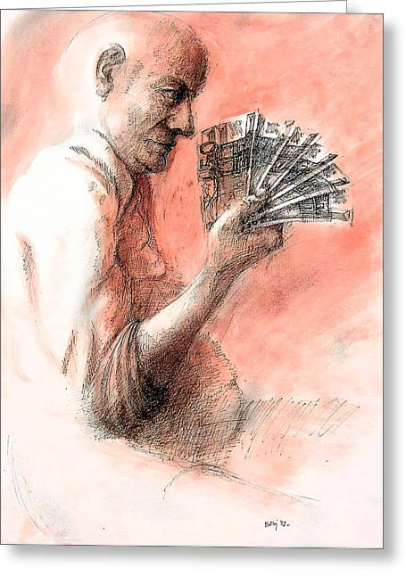 Local Art Drawings Greeting Cards - Money keeper Greeting Card by Piotr Betlej