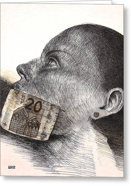 Emart Gallery Greeting Cards - Money kiss Greeting Card by Piotr Betlej