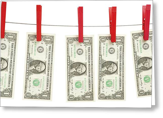 Paper Money Greeting Cards - Money Laundering Greeting Card by Chevy Fleet