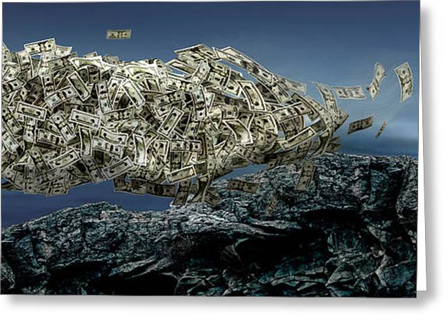 Digitally Generated Image Greeting Cards - Money Tree Greeting Card by Panoramic Images