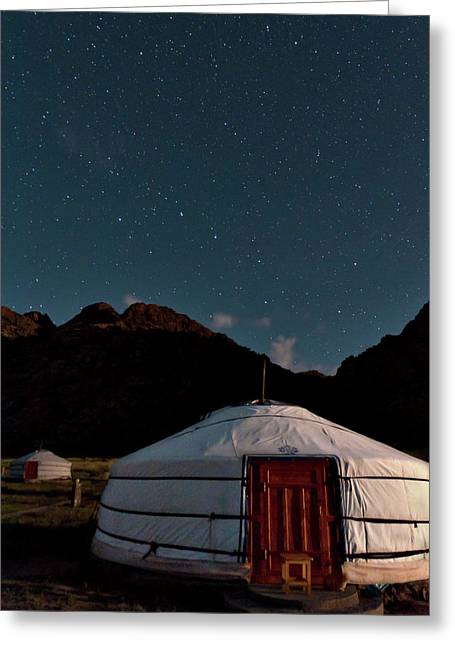 Yurt Greeting Cards - Mongolia By Starlight Greeting Card by Alan Toepfer