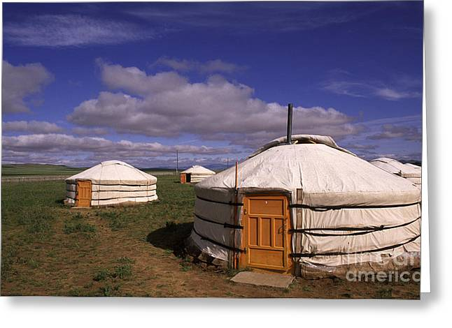Abode Greeting Cards - Mongolian Ger House Greeting Card by Novastock