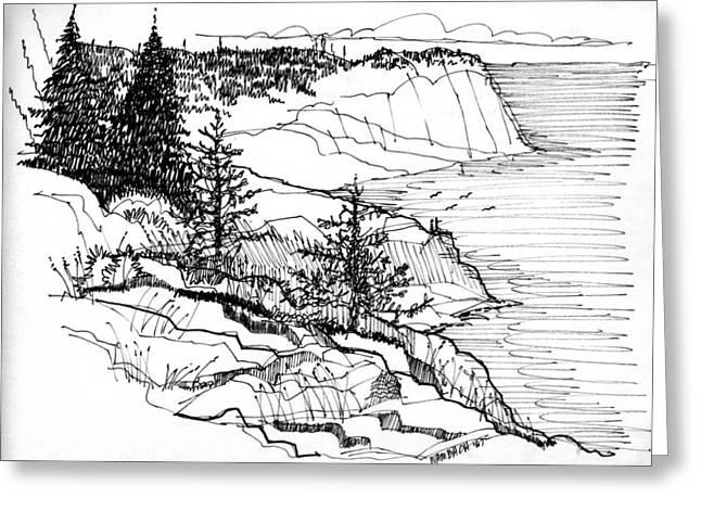 Maine Coast Drawings Greeting Cards - Monhegan Cliffs 1987 Greeting Card by Richard Wambach
