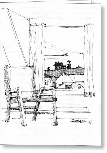 Maine Coast Drawings Greeting Cards - Monhegan Dawn Island Inn Greeting Card by Richard Wambach