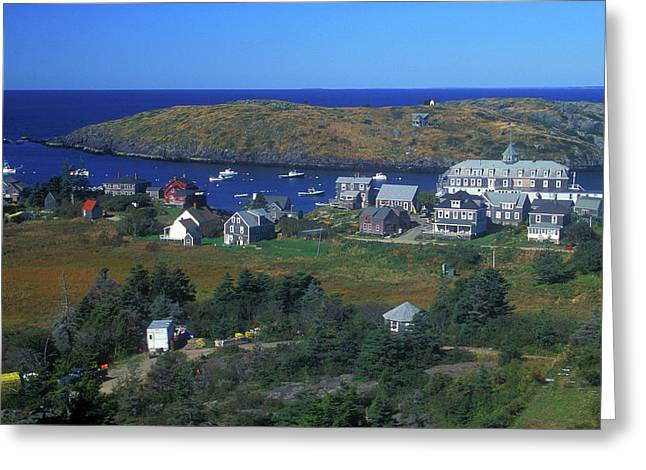 Maine Islands Greeting Cards - Monhegan Island Village Maine Greeting Card by John Burk