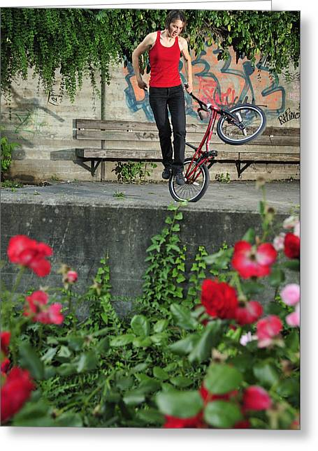 Monika Hinz Doing Elegant Bmx Flatland Trick Greeting Card by Matthias Hauser