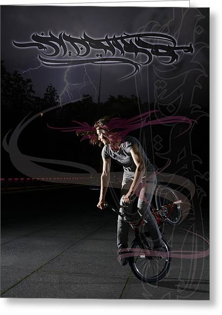 Monika Hinz Doing Great Bmx Flatland Action On Her Bike Greeting Card by Matthias Hauser