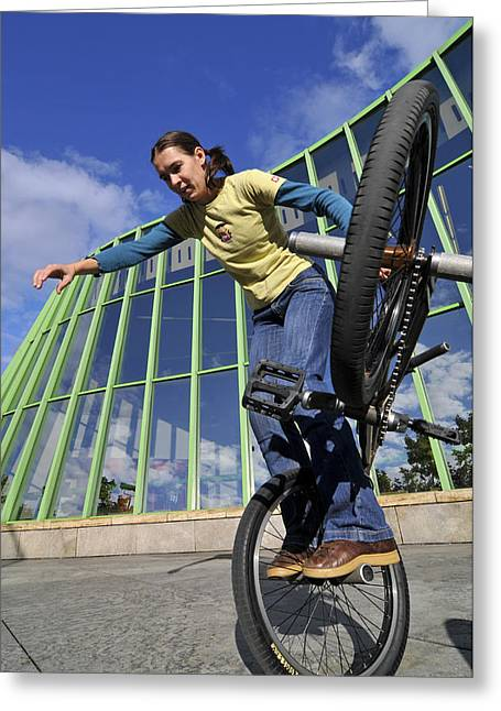 Glass Facade Greeting Cards - Monika Hinz riding BMX Flatland Greeting Card by Matthias Hauser