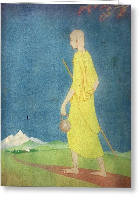 Monk Greeting Card by Tulsidas Tilwe