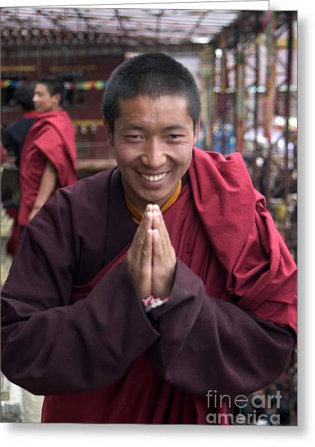 Tibetan Region Greeting Cards - Monk Blessing - Katok Monastery Tibet Greeting Card by Craig Lovell